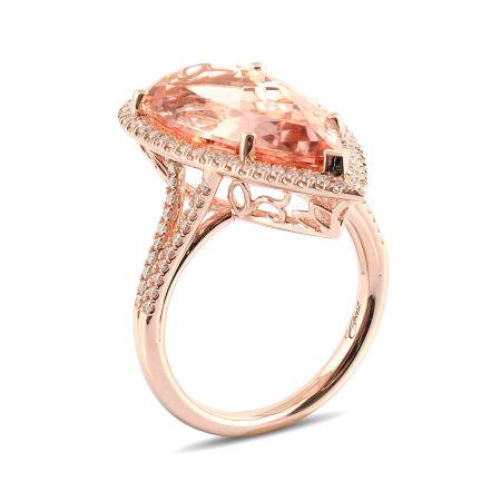 Natural Morganite 8.99 carats set in 14K Rose Gold Ring with 0.37 carats Diamonds