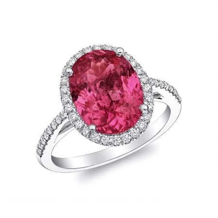 Natural Unheated Spinel 4.22 carats set in Platinum Ring with 0.26 carats Diamonds / GRS Report
