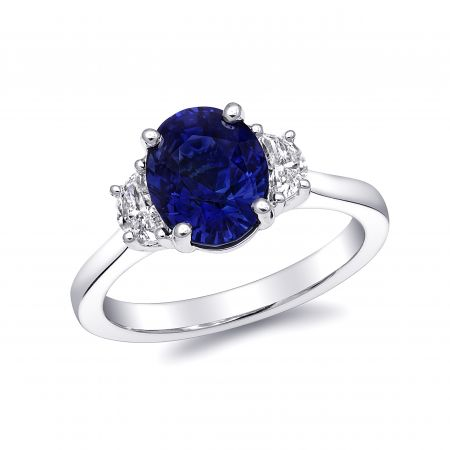 Natural Unheated Blue Sapphire 2.73 carats set in Platinum Ring with Diamonds / GIA Report