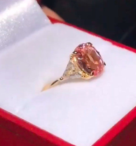 Padparadscha and Diamond Engagement Ring